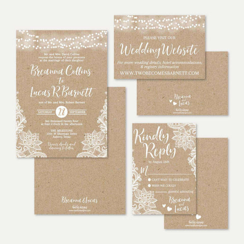 Kraft Lace Rustic Wedding Invitation Suite Printable Template