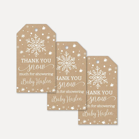 Little Snowflake Baby Shower Thank You Tag Printable Template