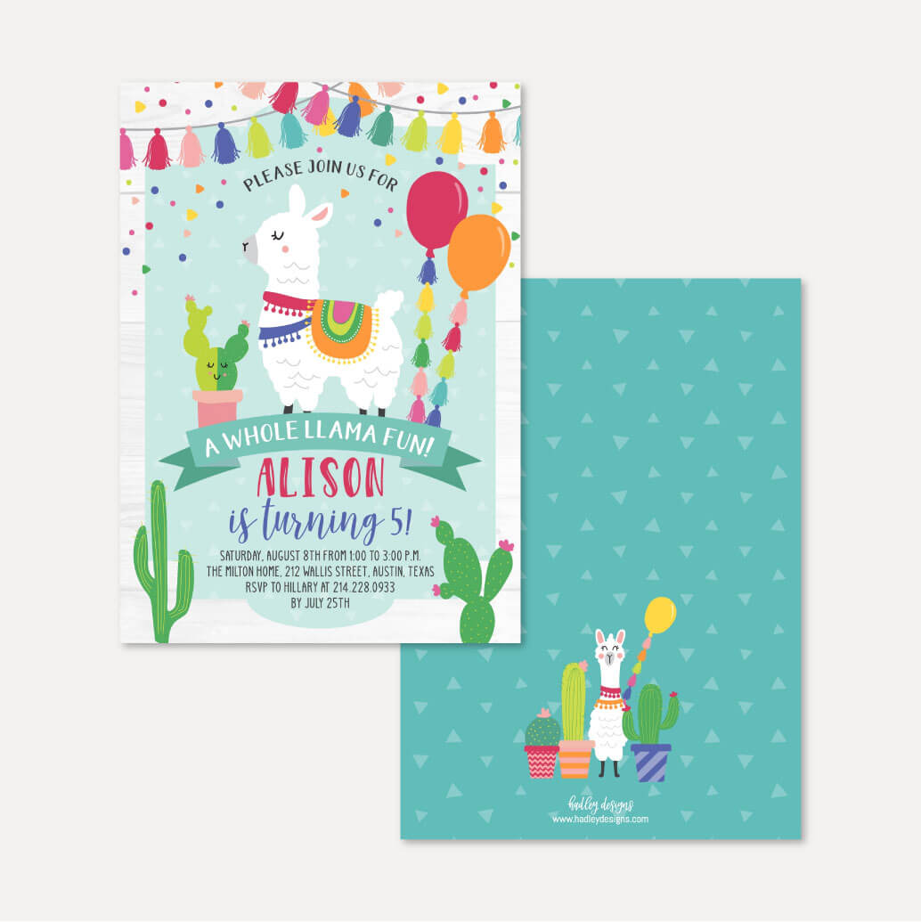 Llama Kids Party Invitation Printable Template