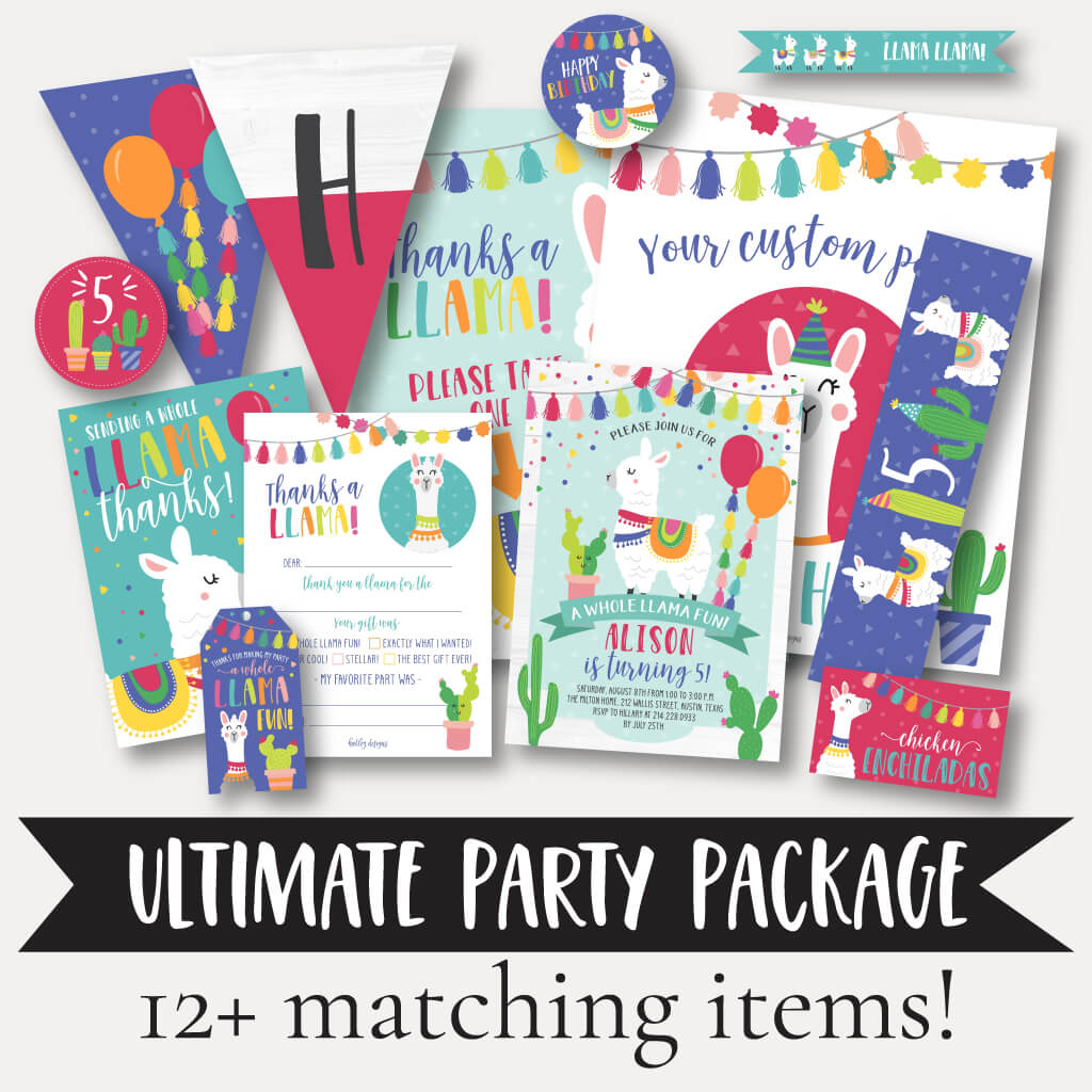 Llama Kids Party Complete Package Set Printable Template