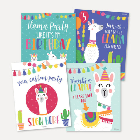 Llama Kids Party Sign Set Printable Template