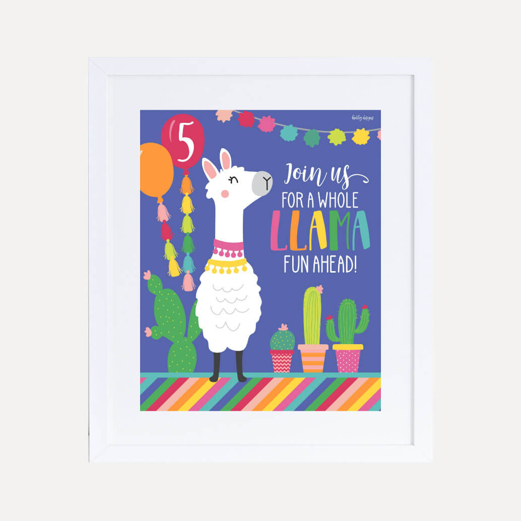 Llama Kids Party Welcome Sign Printable Template