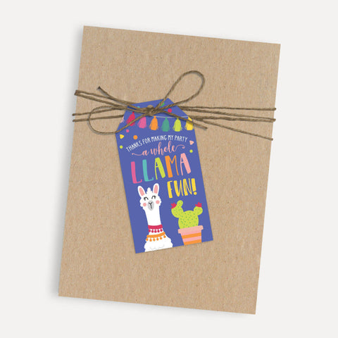 Llama Kids Party Thank You Favor Tags Printable Template