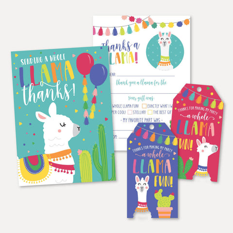 Llama Kids Party Thank You Package Set Printable Template