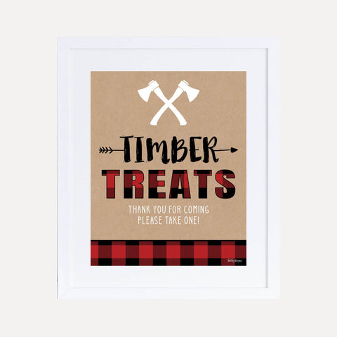 Lumberjack Kids Party Favors Sign Printable Template