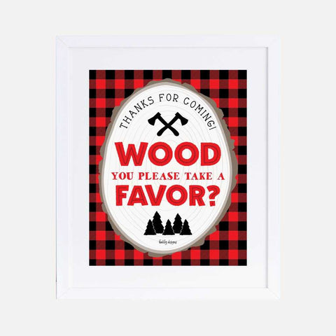 Wood Lumberjack Kids Party Favors Sign Printable Template