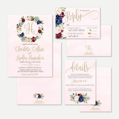Marsala Wreath Wedding Invitation Suite Printable Template