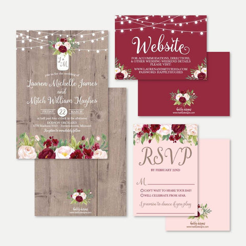 Mason Jar Rustic Burgundy Blush Wedding Invitation Suite Printable Template