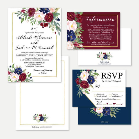 Navy Floral Wedding Invitation Suite Printable Template
