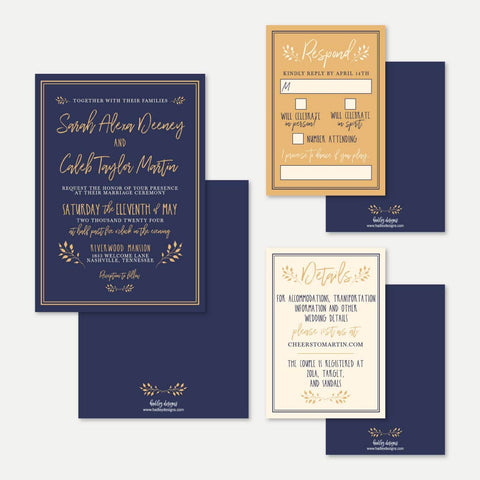 Navy Mustard Rustic Wedding Invitation Suite Printable Template