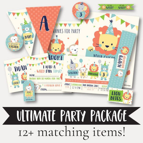 Animal Kids Party Complete Package Set Printable Template