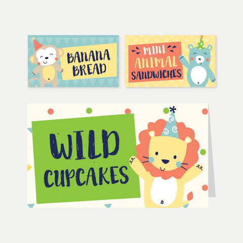 Animal Kids Party Food Tent Cards Printable Template