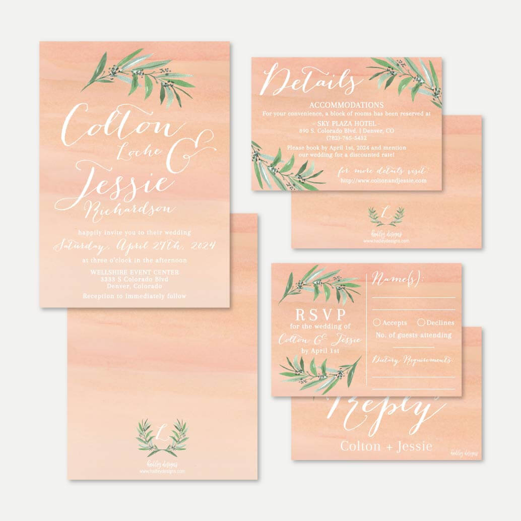 Peach Watercolor Wedding Invitation Suite Printable Template