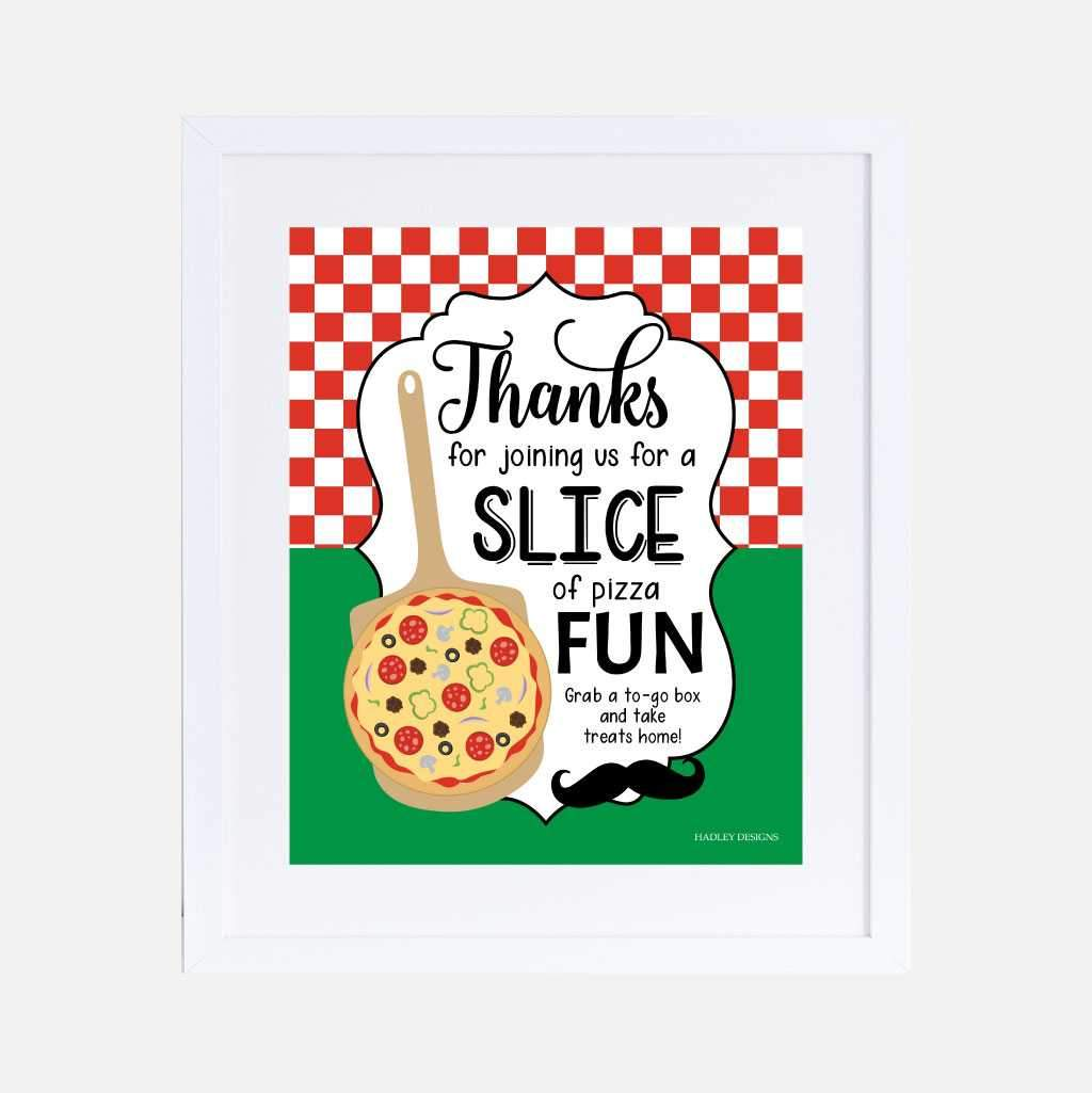 Pizza Sign Thank you for being a Pizza our Celebration Late Night Pizza Party Display Rustic Wood Style PRINTABLE 8x10\u201d Pizza Sign