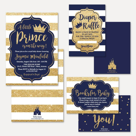 Prince Baby Shower Invitation Suite Printable Template