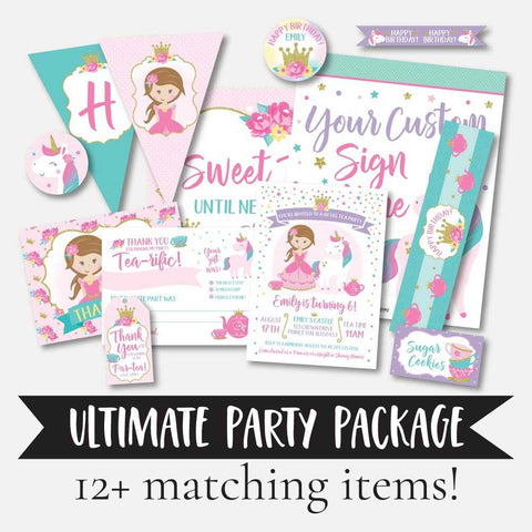 Princess Tea Kids Party Complete Package Set Printable Template