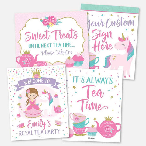 Princess Tea Kids Party Sign Set Printable Template