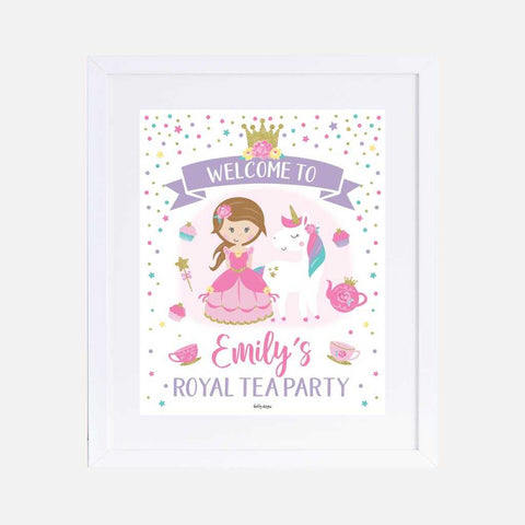 Princess Tea Kids Party Welcome Sign Printable Template