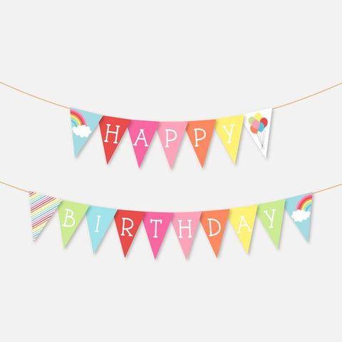 Rainbow Kids Party Banner Printable Template