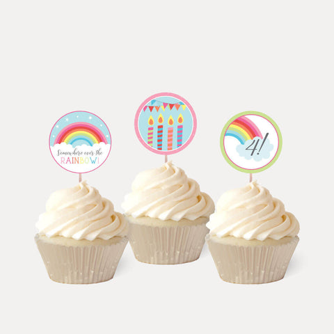 Rainbow Kids Party Cupcake Topper Printable Template