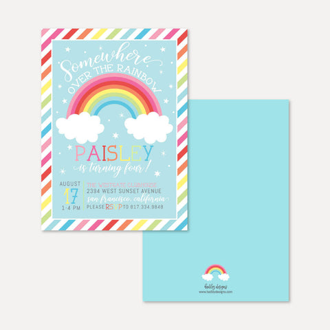 Rainbow Kids Party Invitation Printable Template