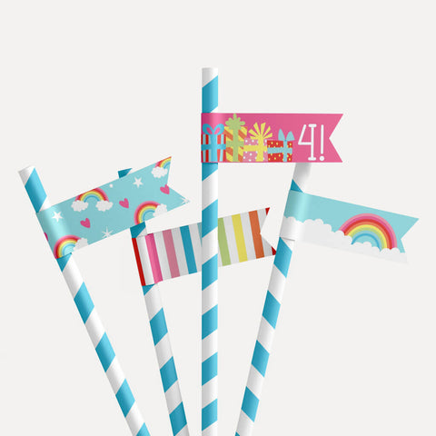 Rainbow Kids Party Straw Flag Printable Template