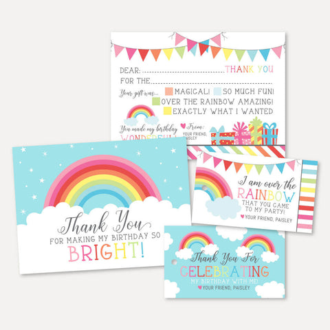 Rainbow Kids Party Thank You Package Set Printable Template