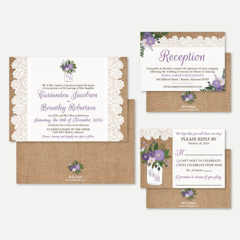 Rustic Mason Jar Floral Lace and Burlap Wedding Invitation Suite Printable Template