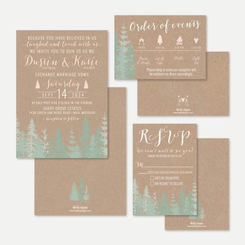 Rustic Pine Tree Outdoor Wedding Invitation Suite Printable Template
