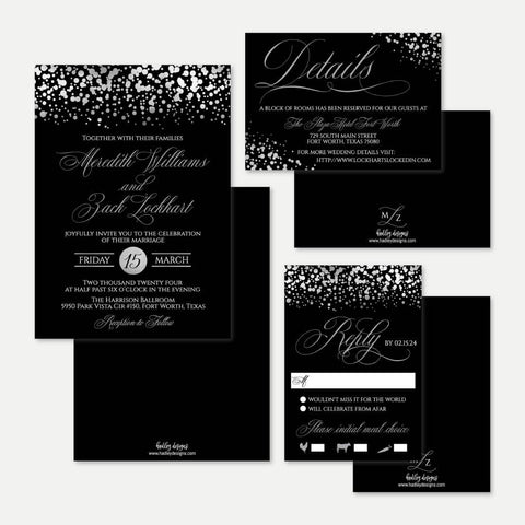 Silver Dots Black Wedding Invitation Suite Printable Template
