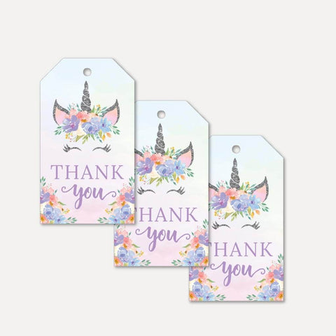 Silver Glitter Unicorn Baby Shower Thank You Tag Printable Template