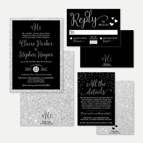 Silver Glitter Black Elegant Wedding Invitation Suite Printable Template
