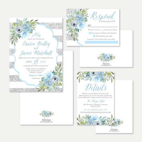 Silver Glitter Striped Blue Floral Wedding Invitation Suite Printable Template