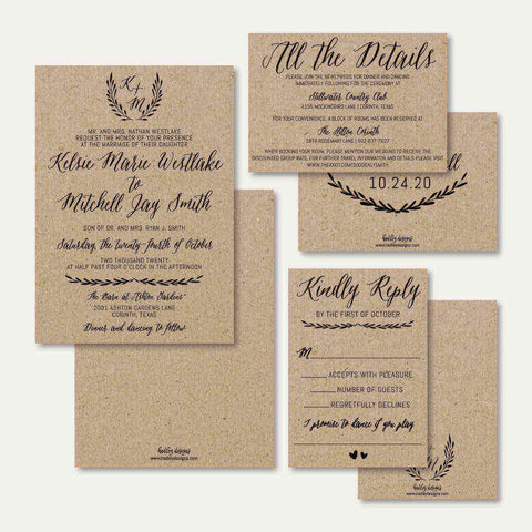 Simple Kraft Wedding Invitation Suite Printable Template