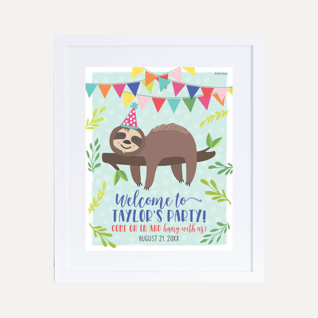 Sloth Kids Party Welcome Sign Printable Template