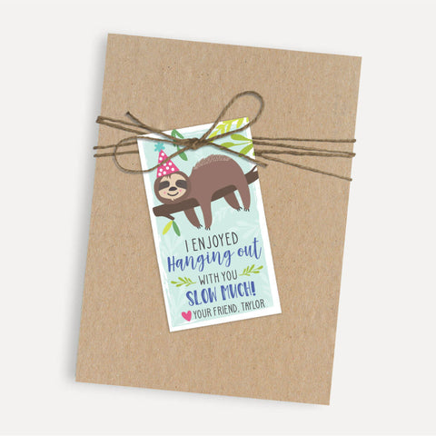 Sloth Kids Party Thank You Favor Tags Printable Template