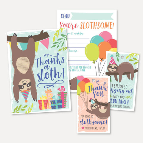 Sloth Kids Party Thank You Package Set Printable Template
