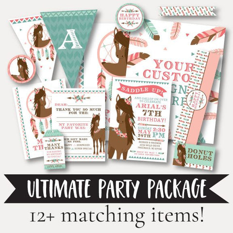 Horse Kids Party Complete Package Set Printable Template