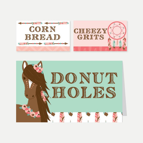 Horse Kids Party Food Tent Cards Printable Template
