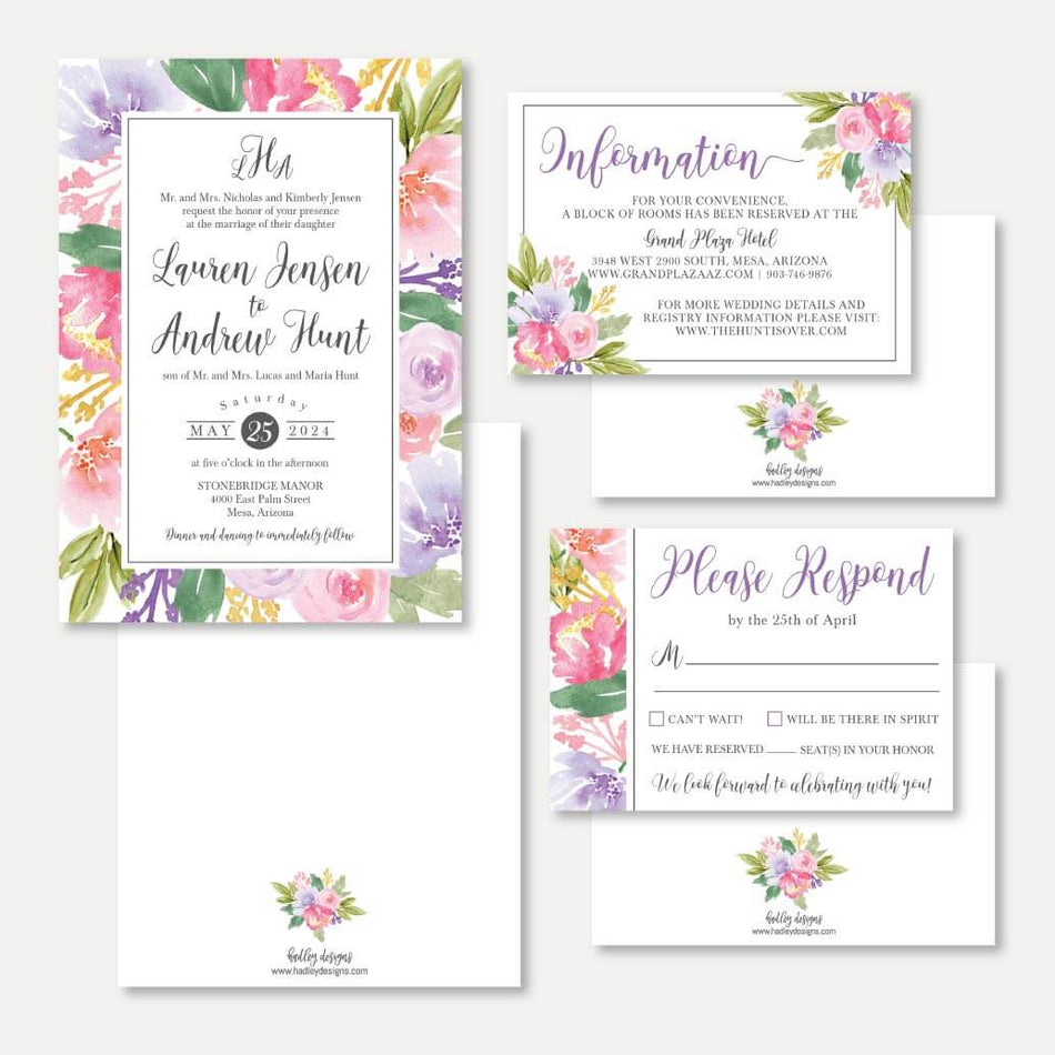 Printable Spring Floral Wedding Invitation Rsvp And Details Set