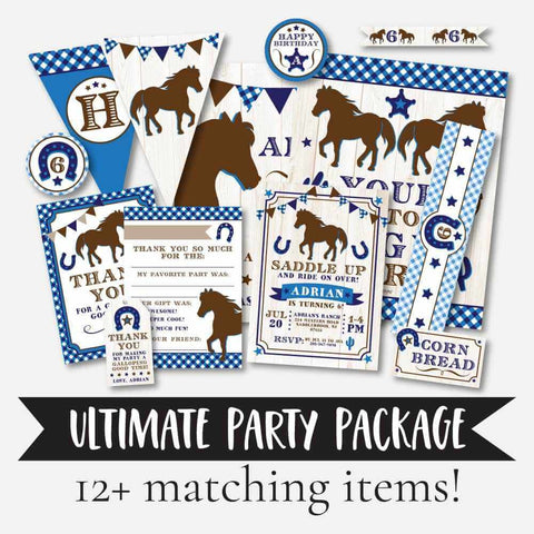 Blue Horse Kids Party Complete Package Set Printable Template