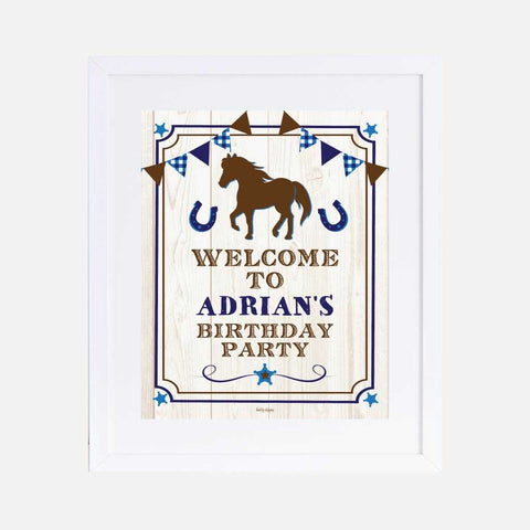 Blue Horse Kids Party Welcome Sign Printable Template