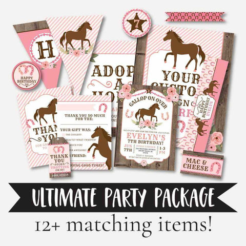Pink Horse Kids Party Complete Package Set Printable Template