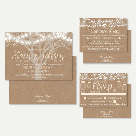 Tree Lights Kraft Rustic Wedding Invitation Suite Printable Template
