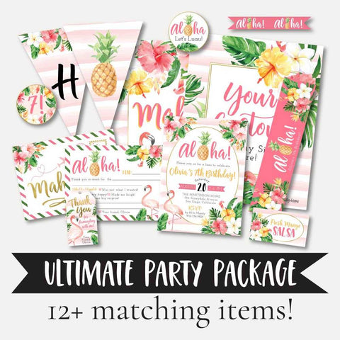 Tropical Kids Party Complete Package Set Printable Template