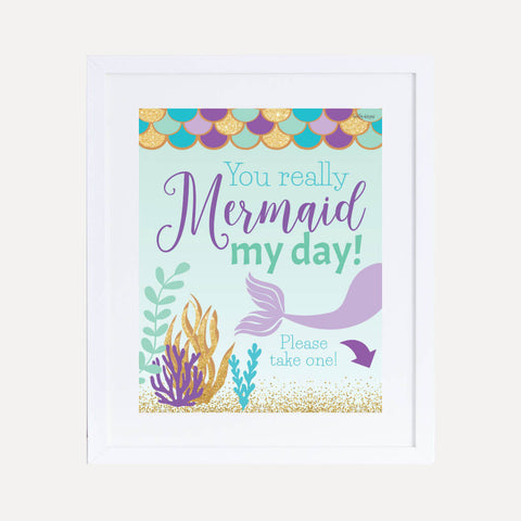 Under the Sea Mermaid Kids Party Favors Sign Printable Template