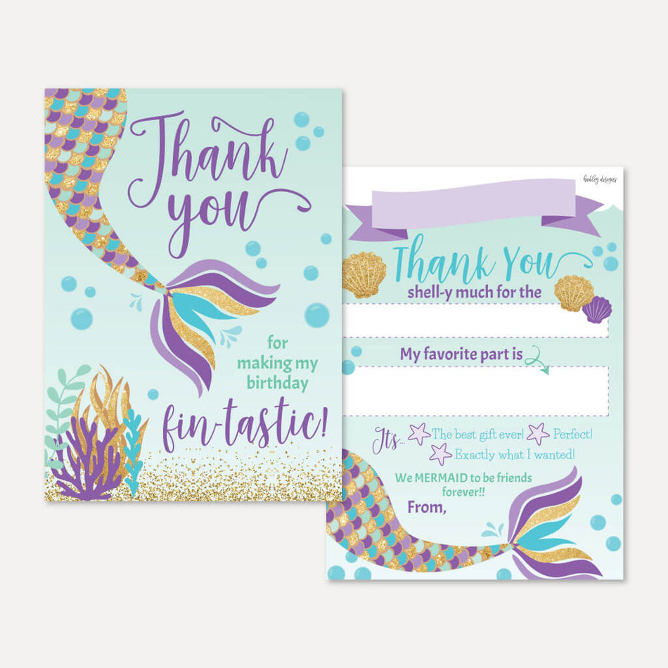 Under The Sea Mermaid Party Thank You Cards