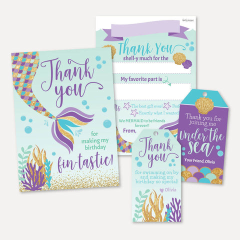 Under the Sea Mermaid Kids Party Thank You Package Set Printable Template