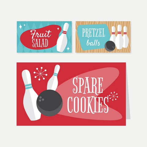 Vintage Bowling Kids Party Food Tent Cards Printable Template