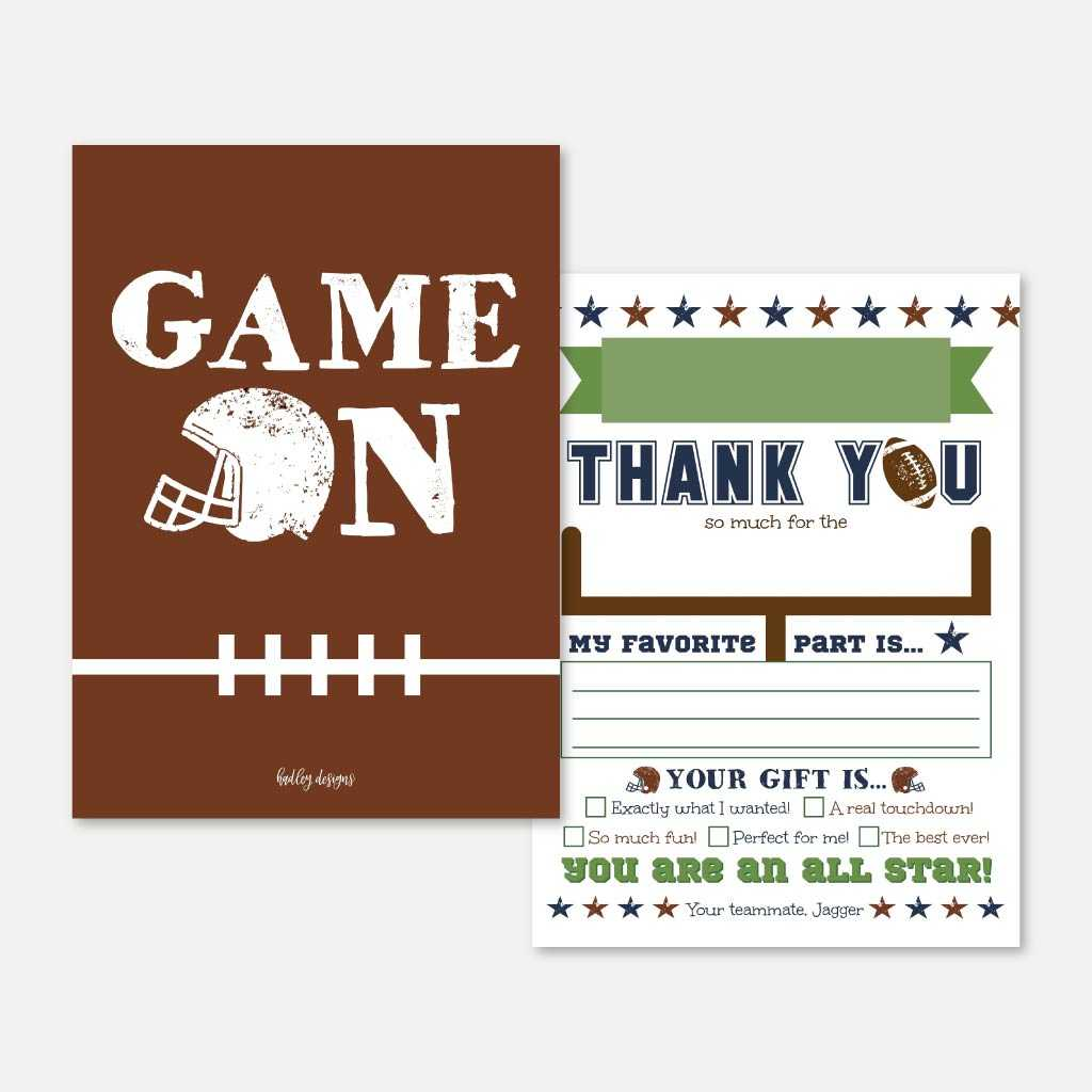 Vintage Football Kids Party Thank You Card Printable Template